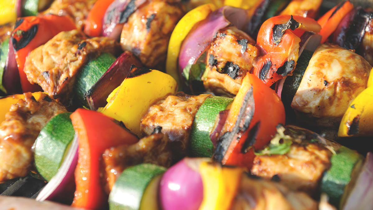 Several meat-and-vegetable kebabs