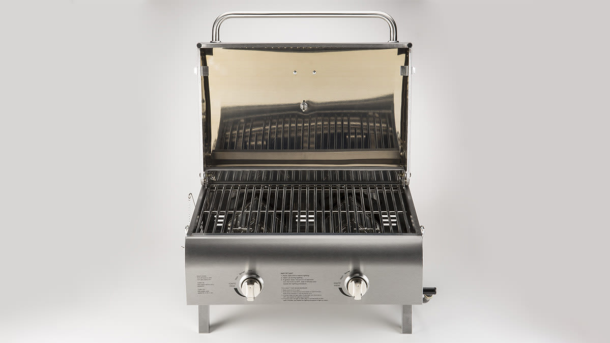 A topdown view of a portable grill.