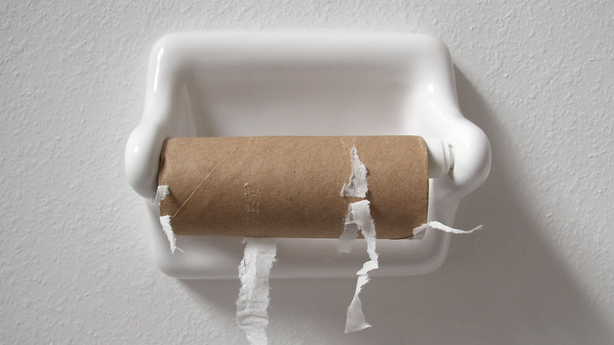 An empty roll of toilet paper.