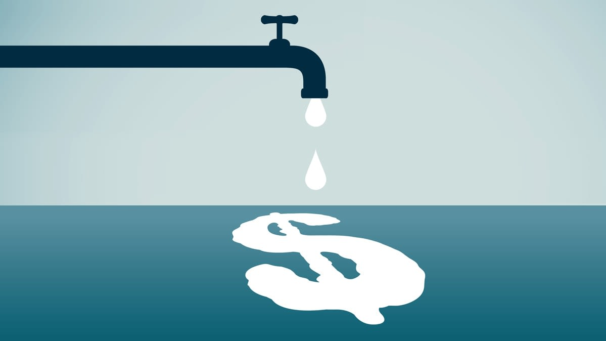Illustration for article on how to save water and money.