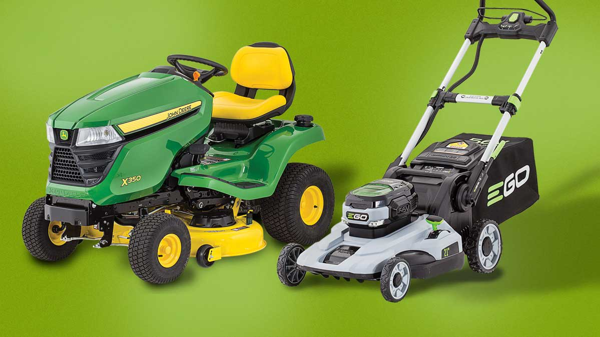 A John Deere gas tractor lawn mower and an Ego battery push mower on a green background