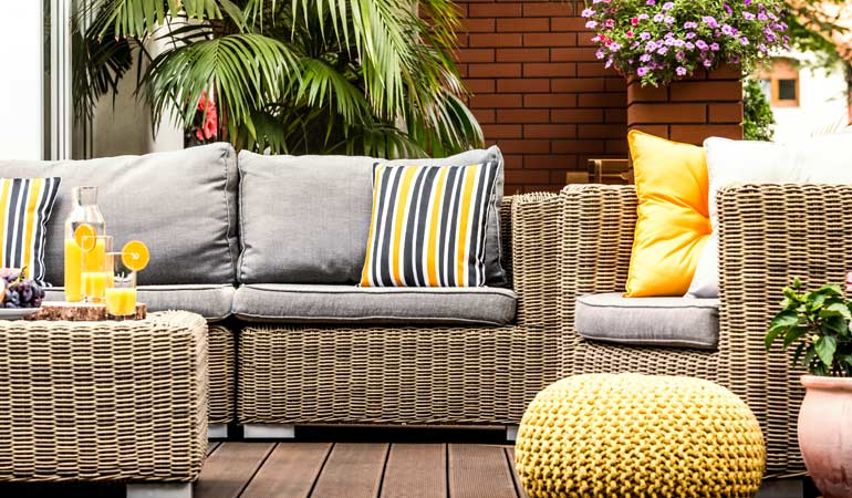 A patio with outdoor furniture