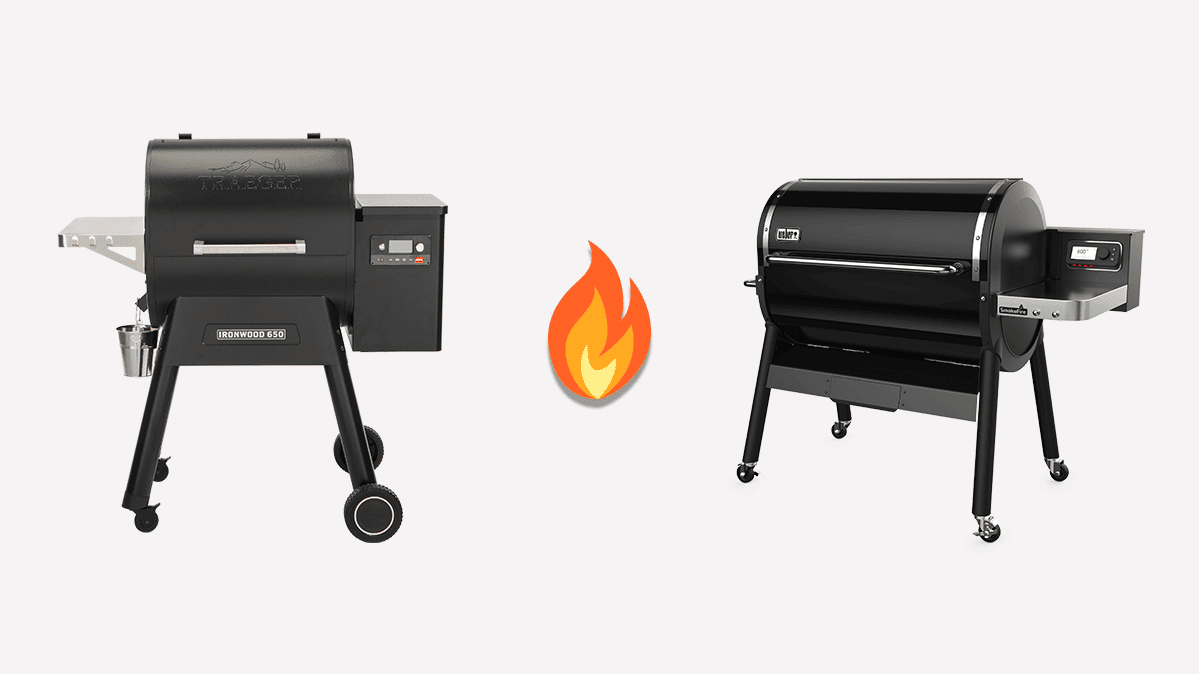 Traeger Ironwood 650 pellet grill (left) and Weber SmokeFire EX6 pellet grill (right)