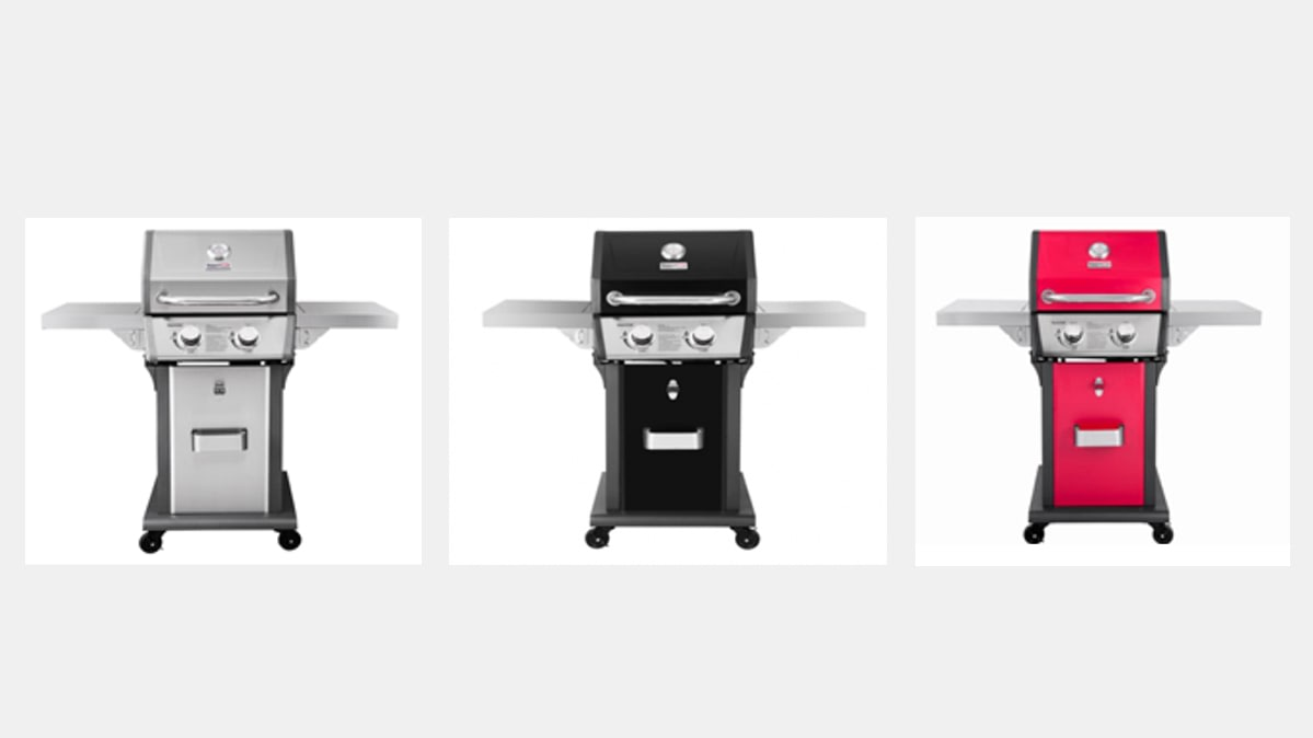 A trio of gas grills (in silver, black, and red) that are part of the Royal Gourmet product recalls