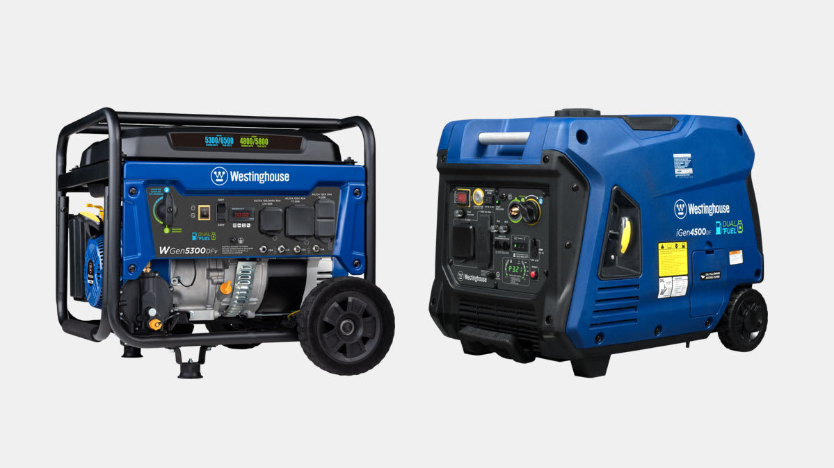 The recalled Westinghouse WGen5300DFv and iGen4500DF portable generators