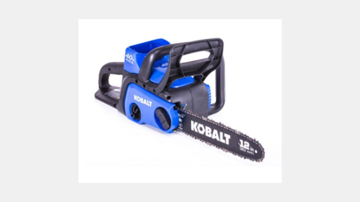 A recalled Kobalt battery-powered chainsaw.