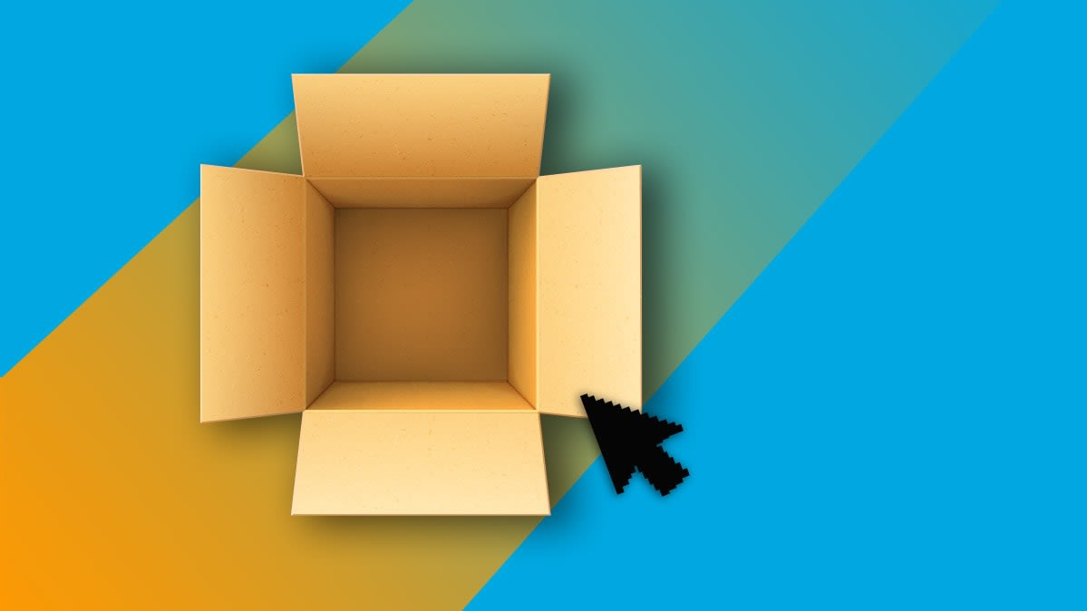 A box on a colorful background for Amazon Prime Day.