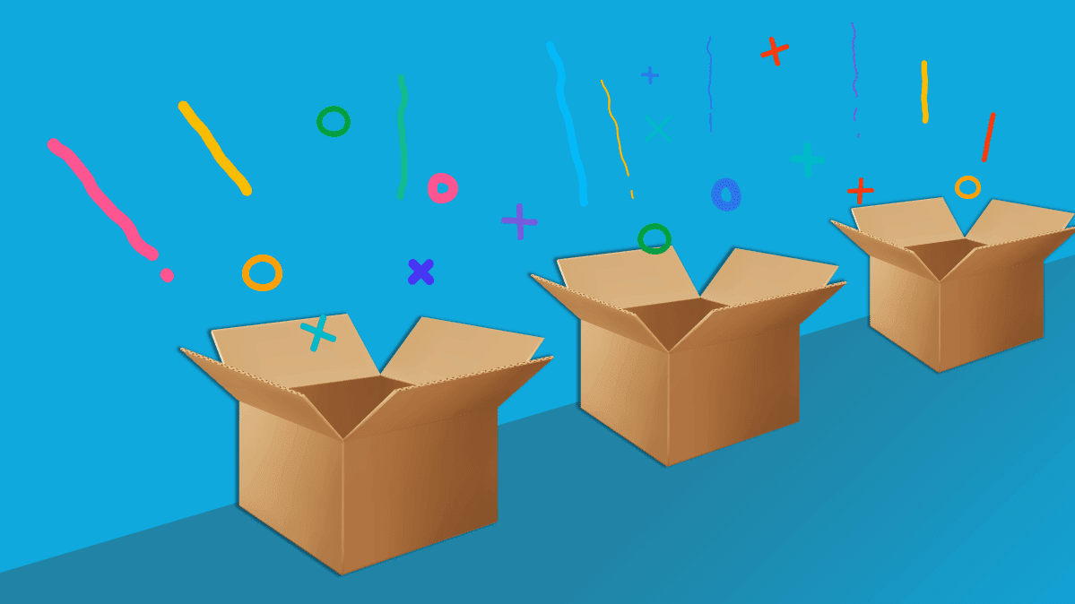 Three boxes on a colorful background for Amazon Prime Day.