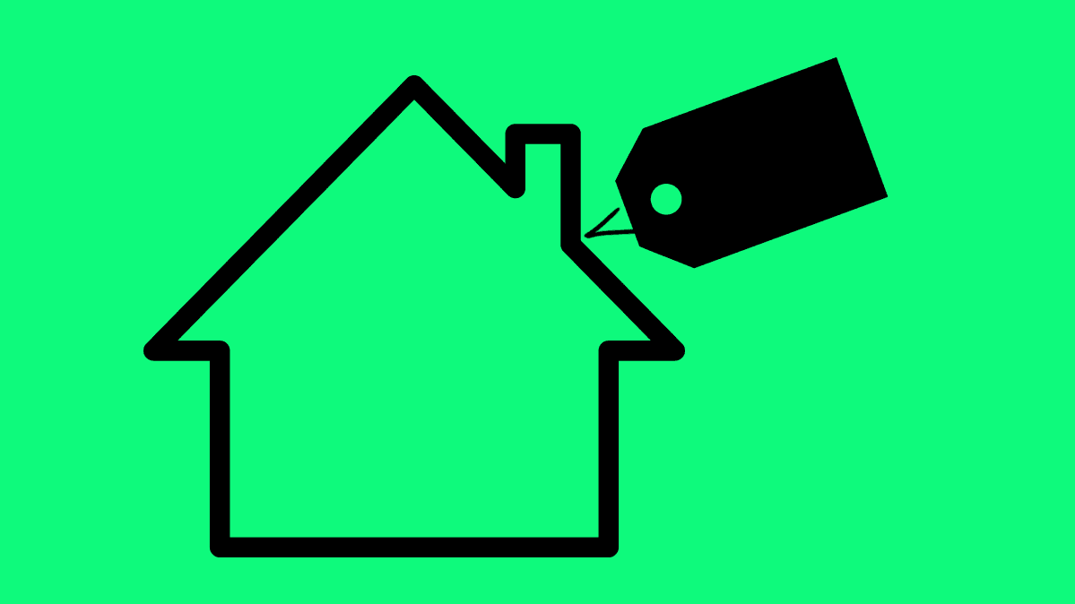 Home icon with price tag on green background