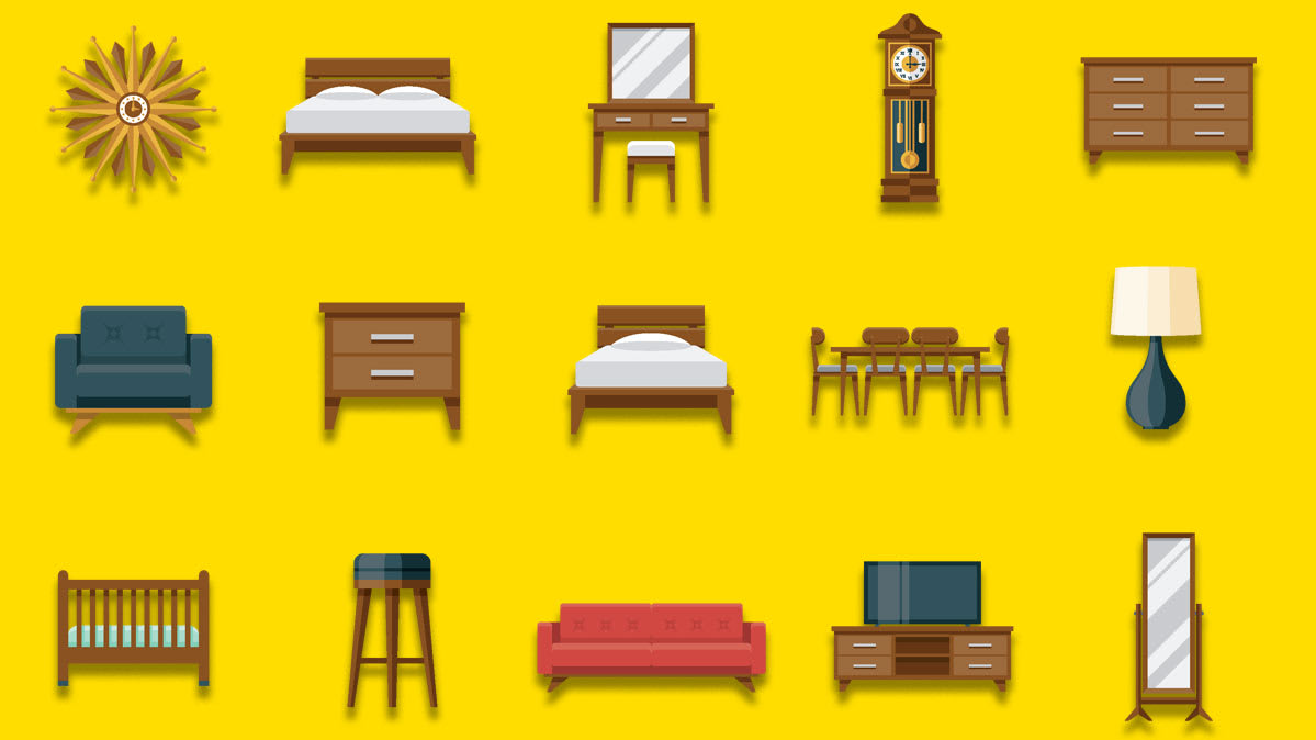 An illustration of various pieces of furniture.