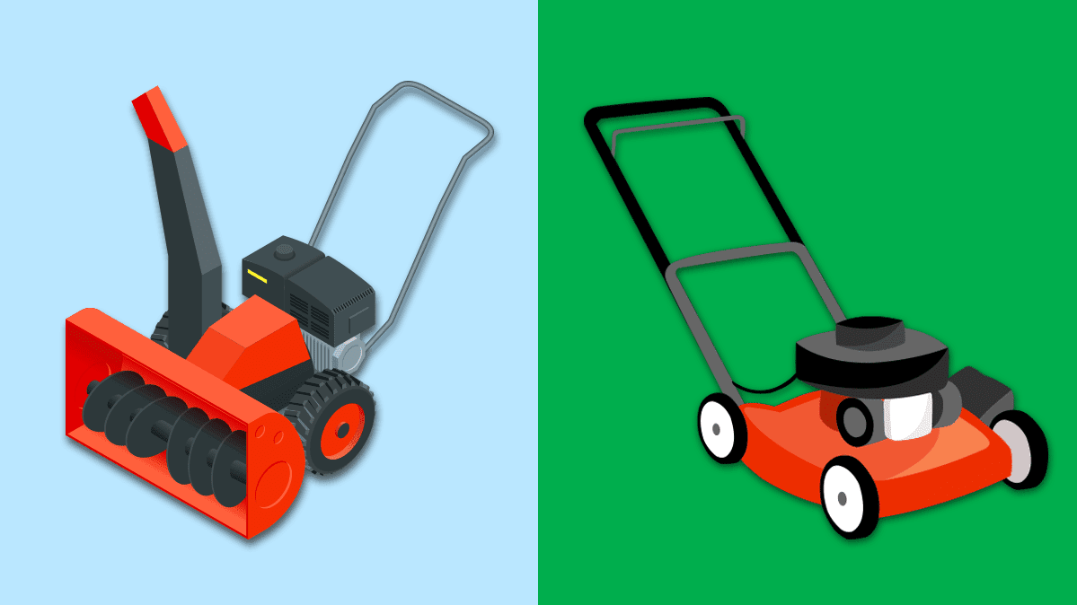Illustration of a now blower and a lawn mower side-by-side