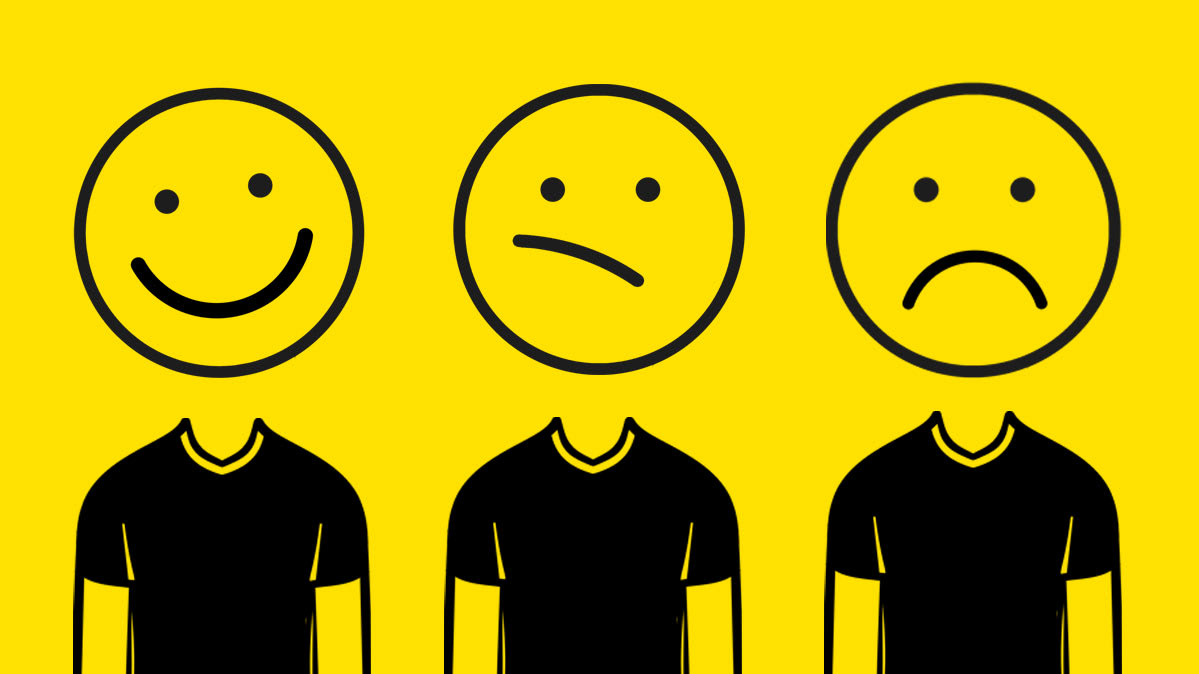 An illustration of various facial expressions to indicate happy, confused, and sad customers.