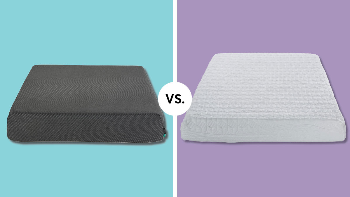 The Tuft & Needle Mint mattress (left) and Purple The Purple mattress (right)