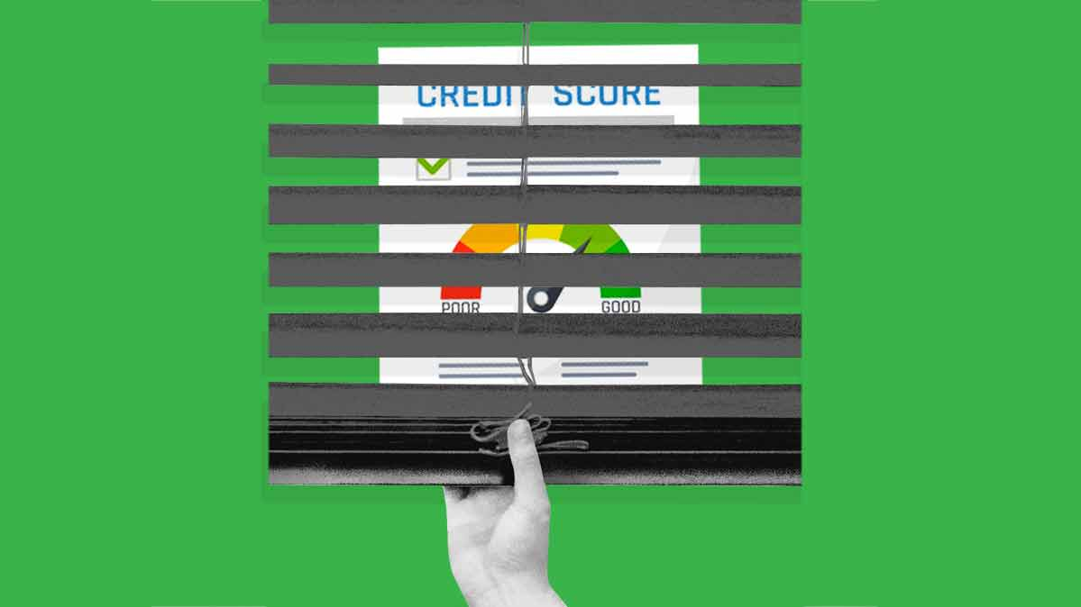 An illustration of someone pulling the shades over a credit report.