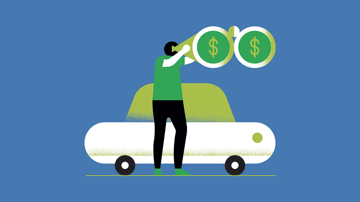 An illustration of a person in front of a car looking through binoculars with dollar signs in the lenses.