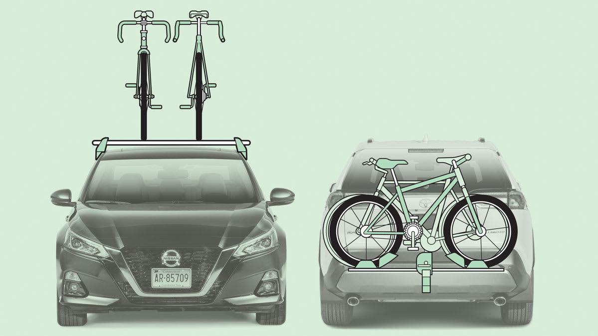Illustration showing two types of bike racks: a roof rack (left) and a hitch rack (right)