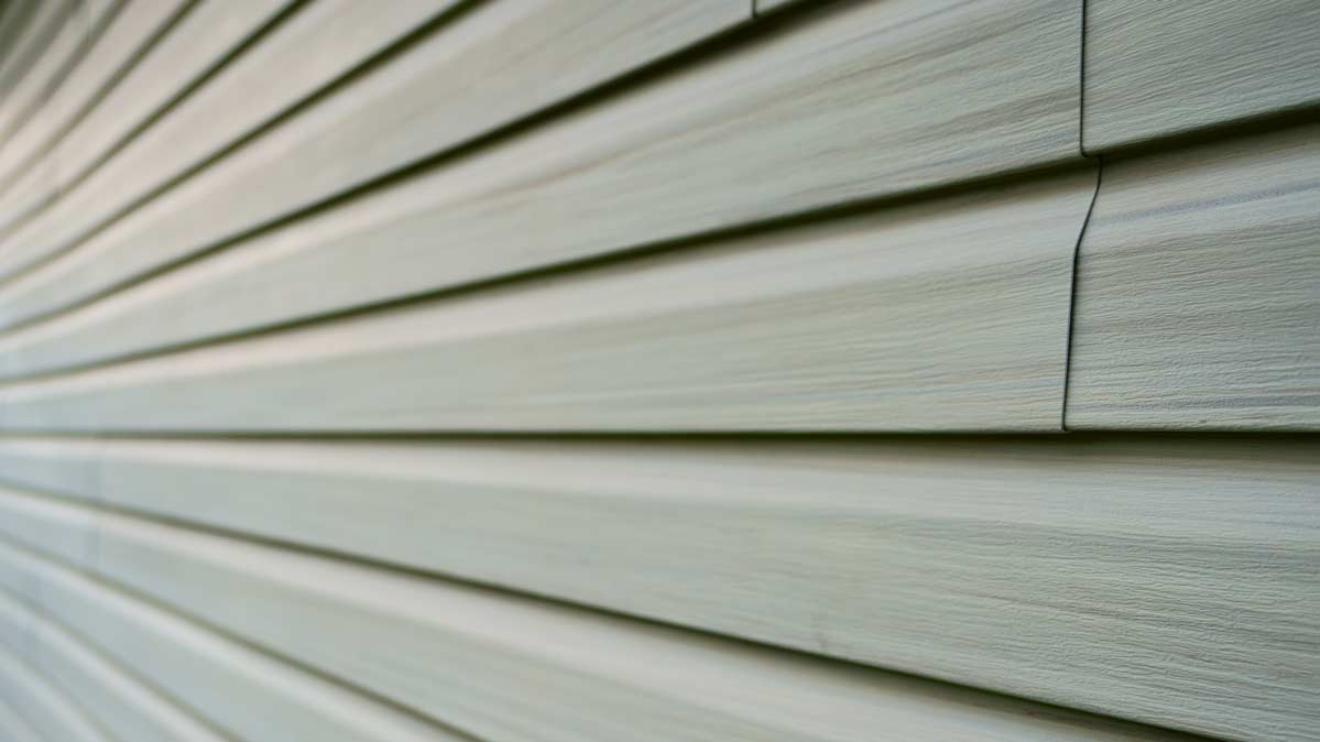 Vinyl house siding, shown here, generally poses a low threat to the environment and health