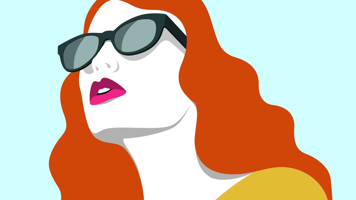 An illustration of a woman wearing polarized sunglasses.