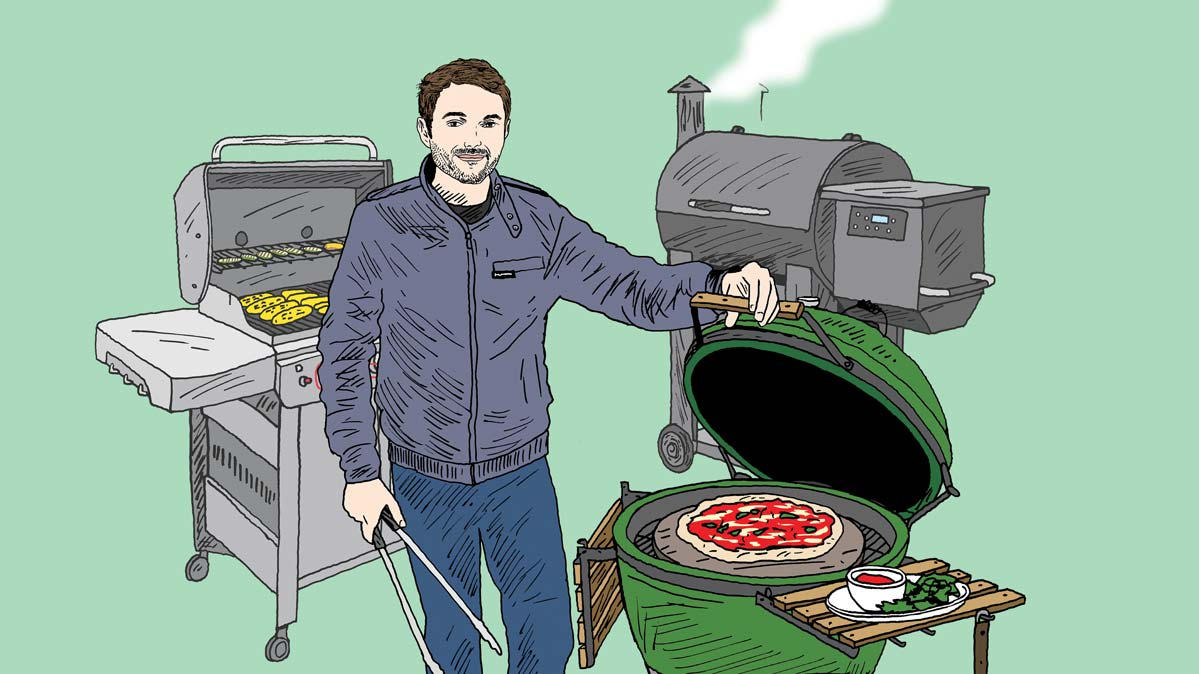 Illustration of Consumer Reports grill expert Paul Hope with more than one grill.
