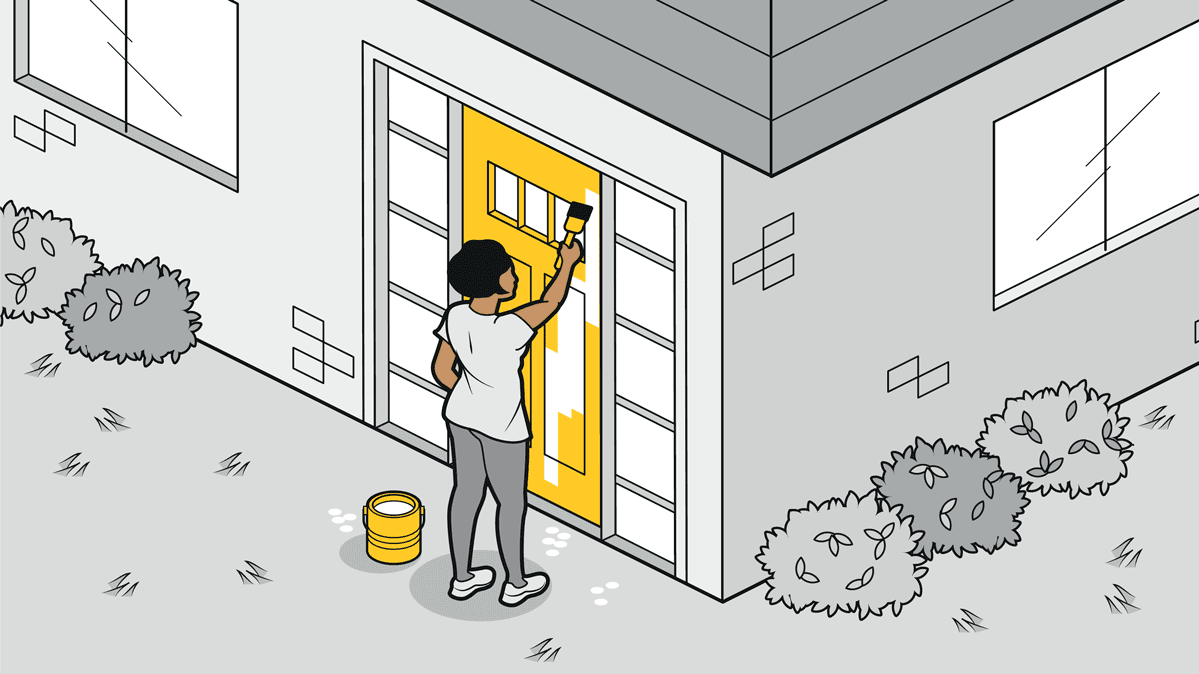 An illustration of a woman painting her front door as an easy outdoor home fix.