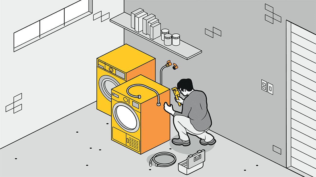 An illustration of a person doing a simple home maintenance job on a washer and dryer.