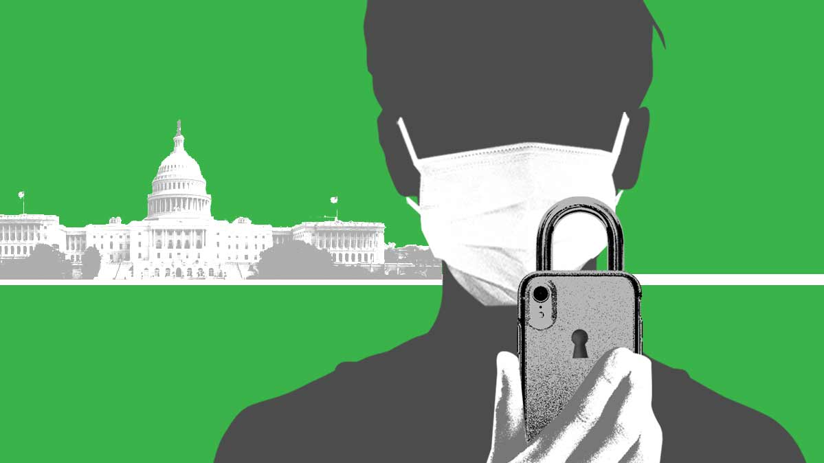 An illustration of someone in a face mask looking at a locked smartphone.