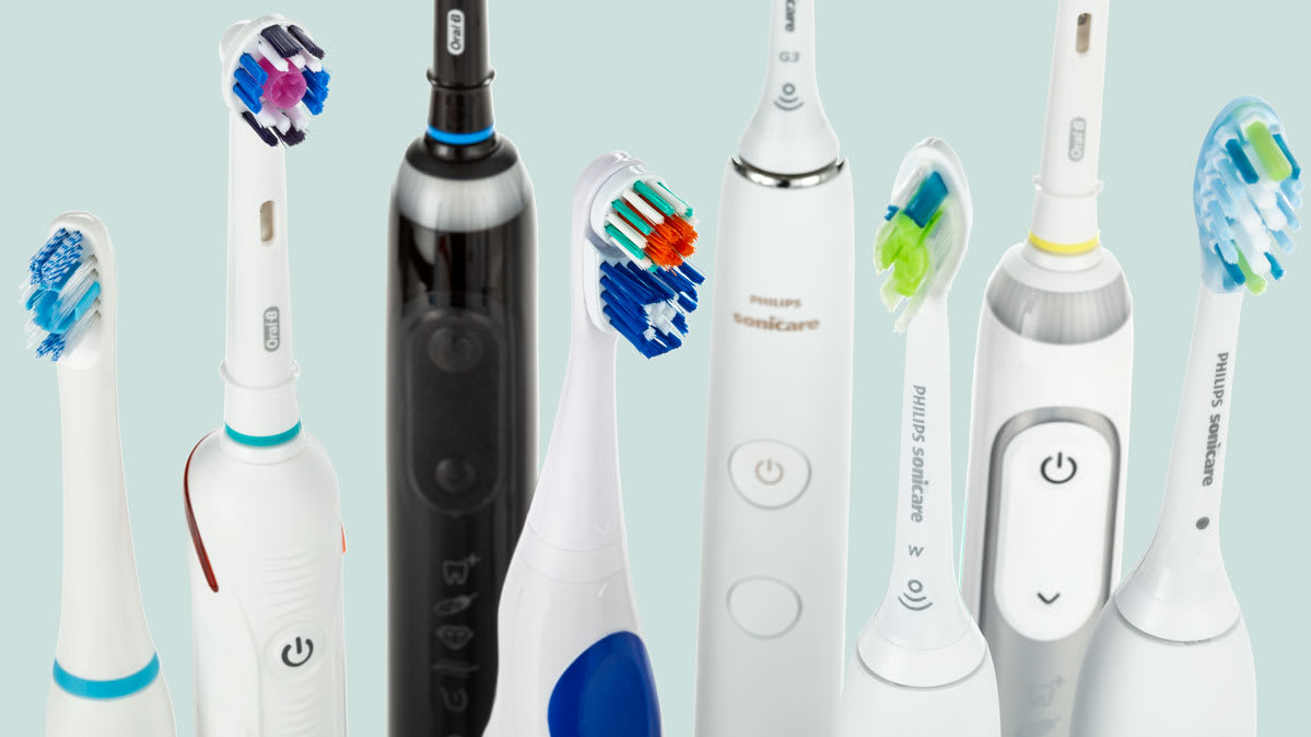 Eight electric toothbrushes