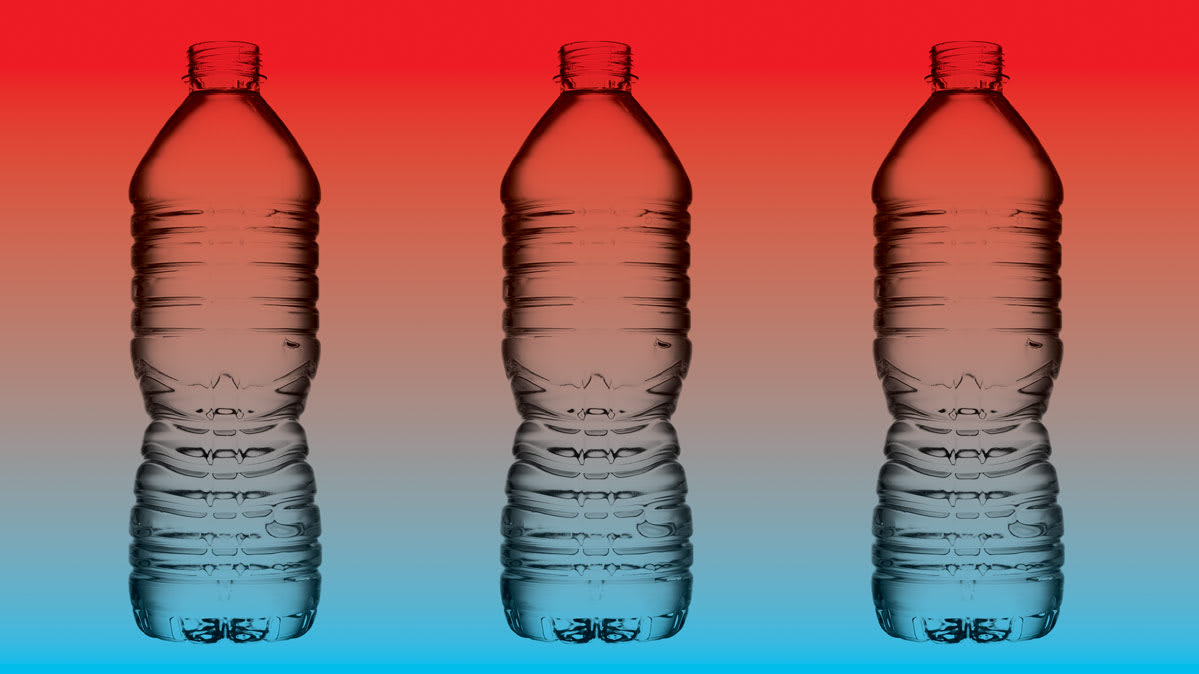 Three water bottles with a multicolor background.