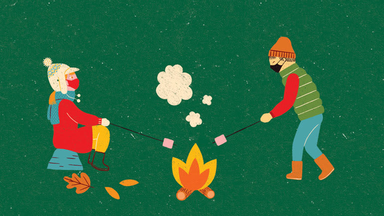 Illustration of two people roasting marshmallows over a firepit
