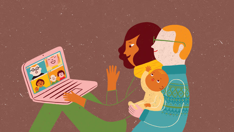 An illustrated couple and their child sitting together and using a laptop