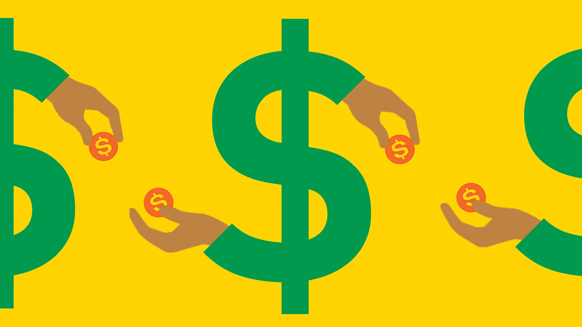 An illustration of dollar signs with hands holding coins to represent smart money moves.