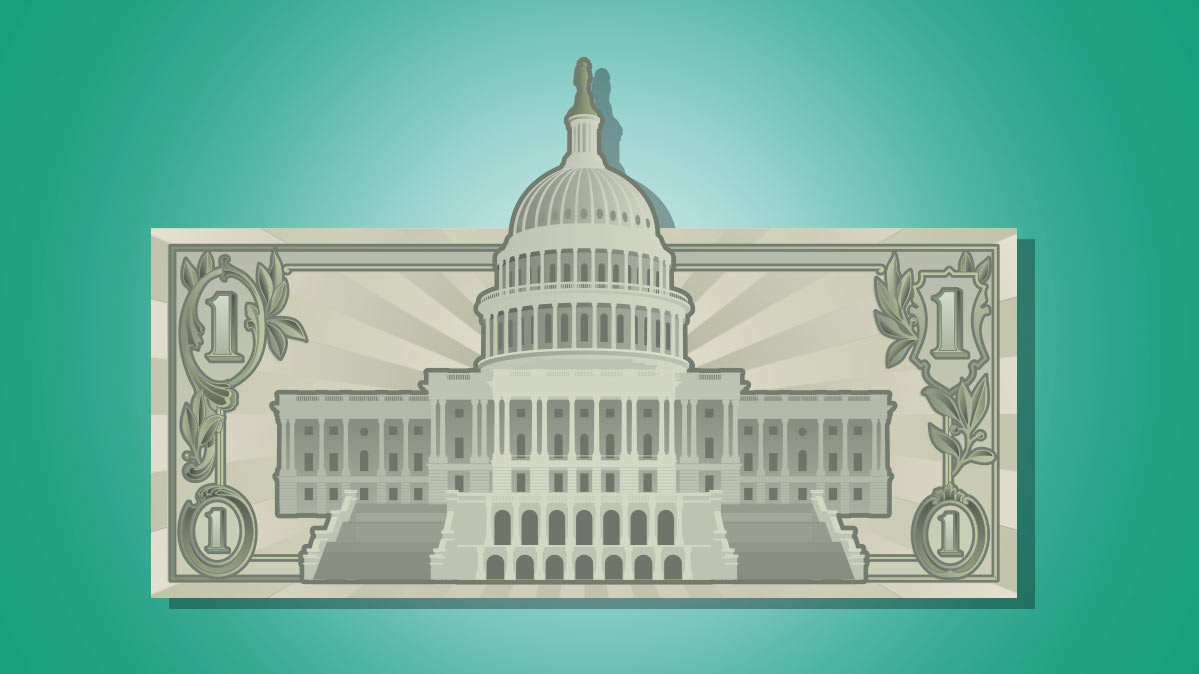 Illustration of the White House in front of a dollar bill