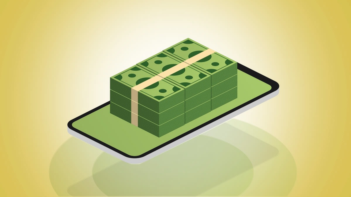Illustration showing stacks of money on top of a smartphone