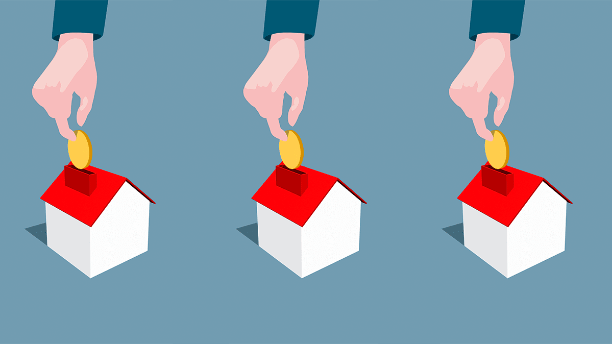 An illustration of hands putting money into piggy bank houses.