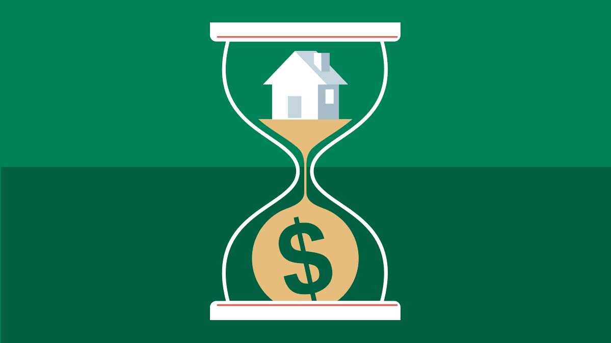 An illustration of an hourglass with a house on one end and a dollar sign on the other.