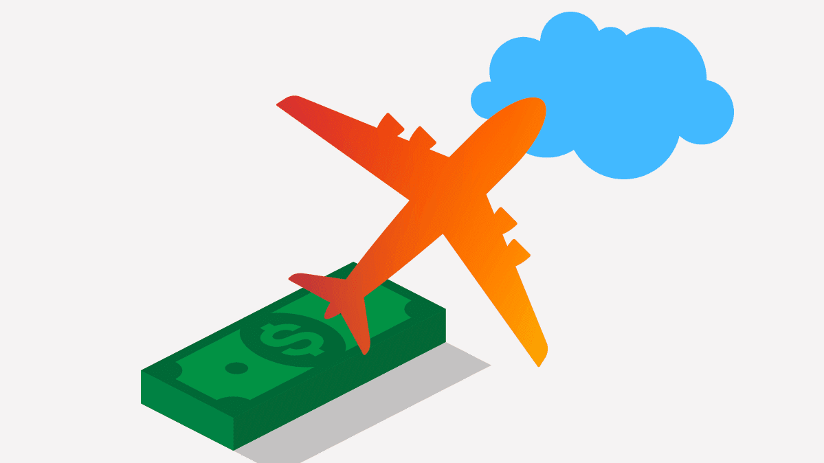 Illustration depicting refund for air travel, showing a pile of money, an airplane, and a cloud