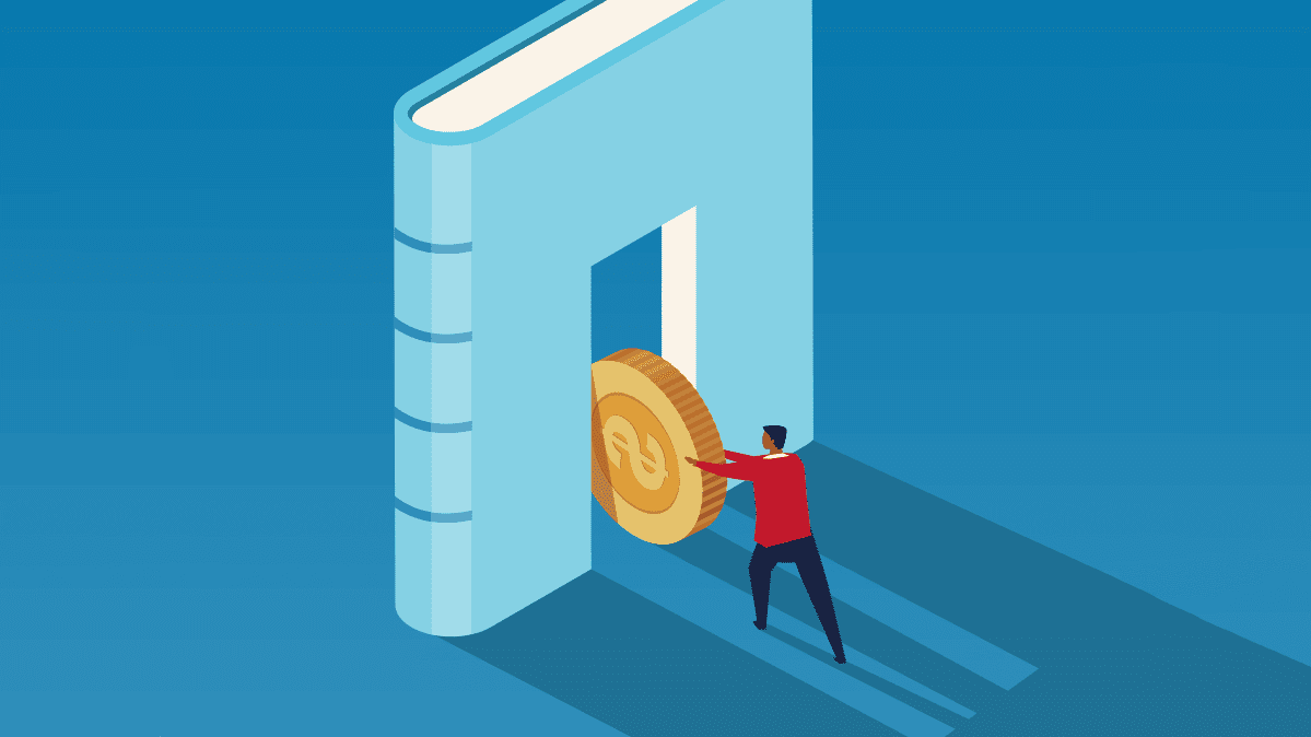 Illustration of a person pushing a golden coin through an opening in a giant book