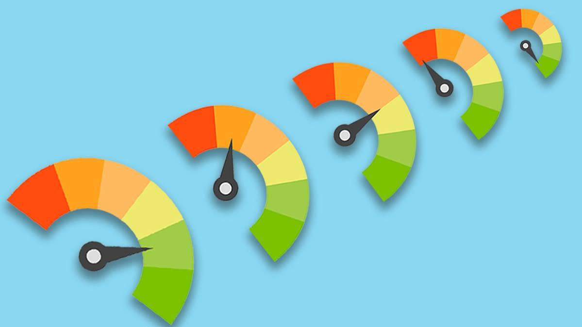 A series of 5 red, orange, yellow, and green semicircles indicating credit scores