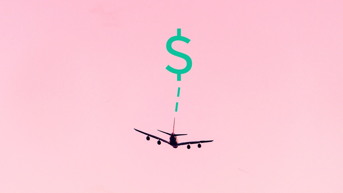 An airplane with a dollar sign above to illustrate getting canceled flights refunded.