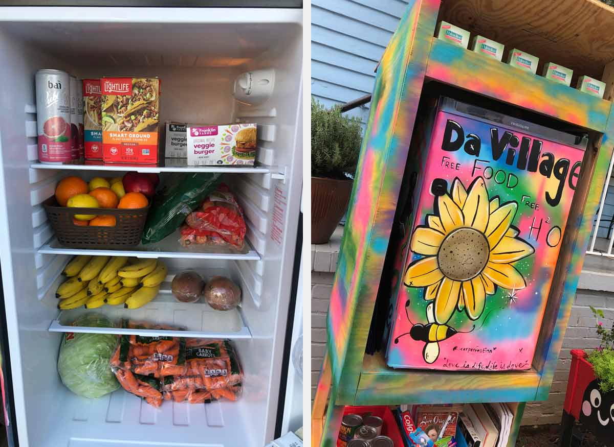 DaVillage VEGAN Free Food community fridge Charlotte, NC