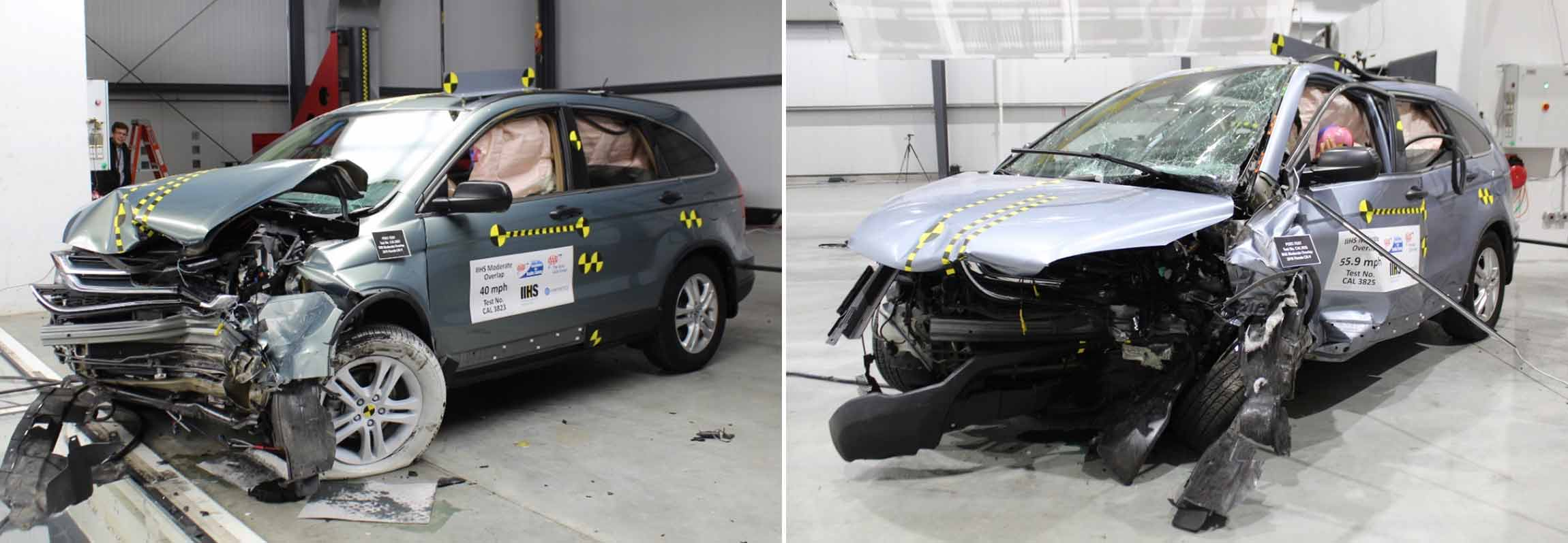 Two cars after crash tests