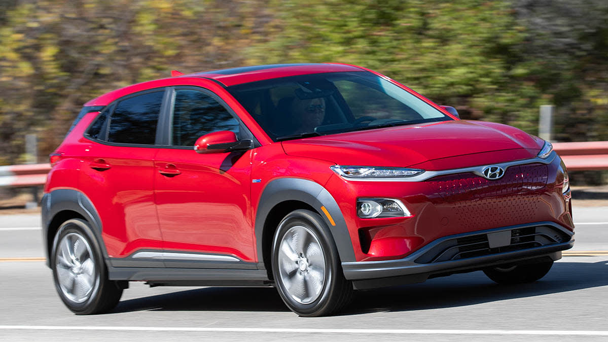 A red Hyundai Kona Electric that's part of the latest Hyundai recall of electric vehicles