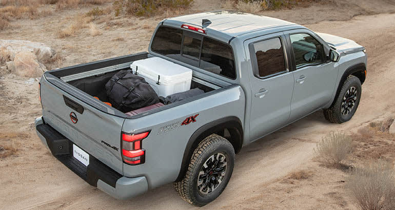 2022 Nissan Frontier top showing cargo bed