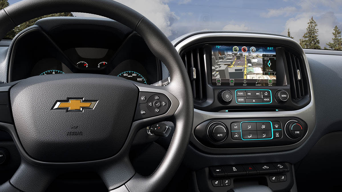 The steering wheel of a 2015 Chevrolet Colorado, a vehicle that has been recalled