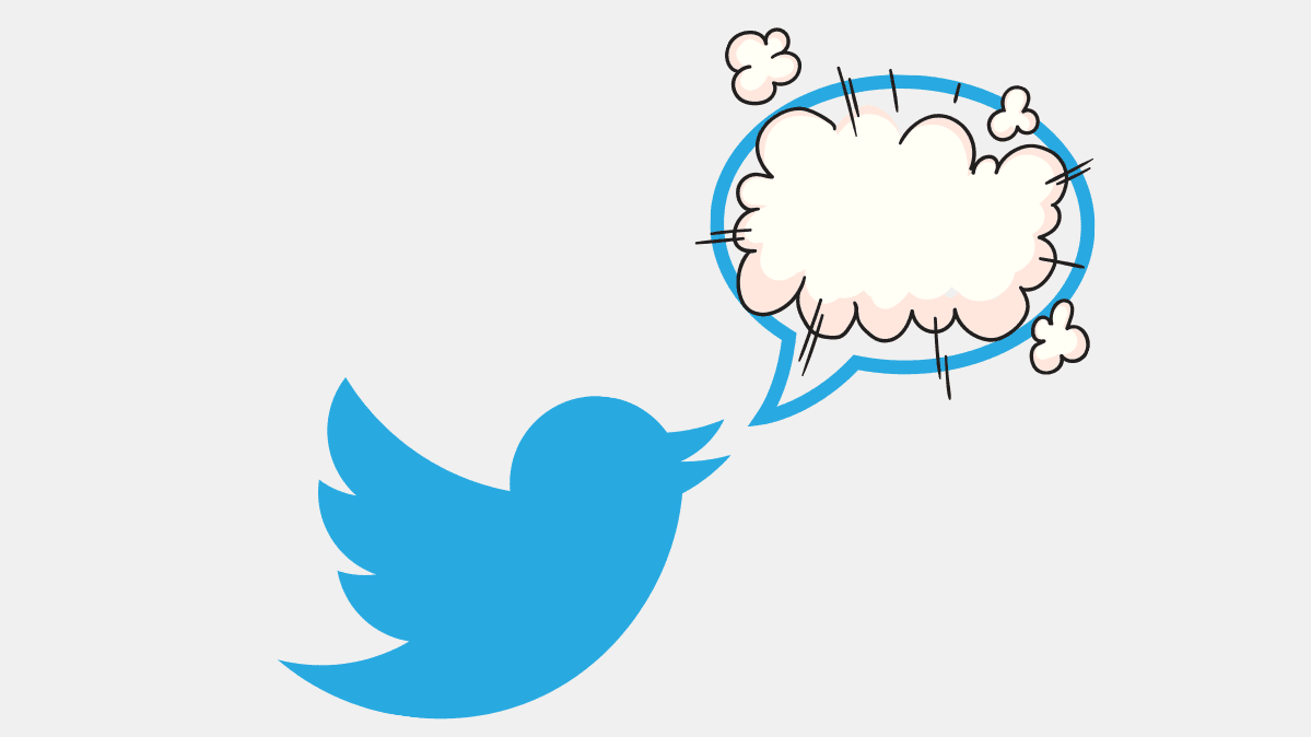 The Twitter logo with an exploding speech bubble representing deleted tweets