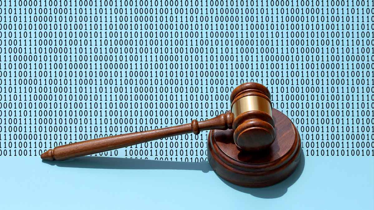 An illustration of a gavel on a background of binary code.