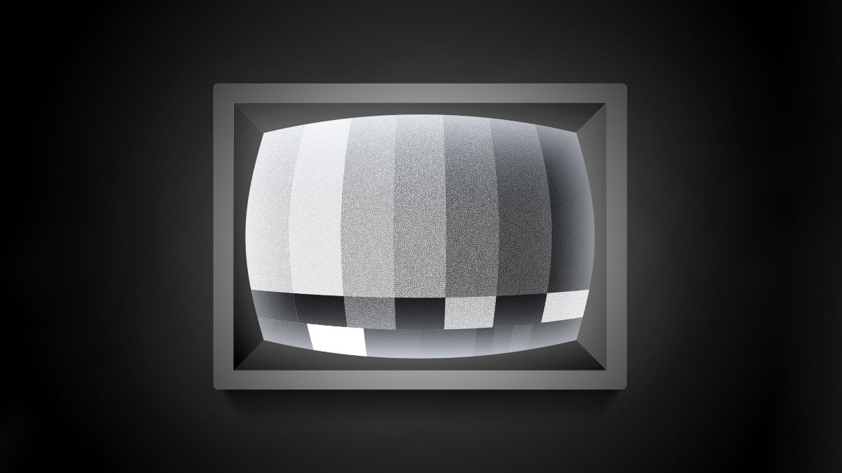 Illustration of a black-and-white test pattern on a TV