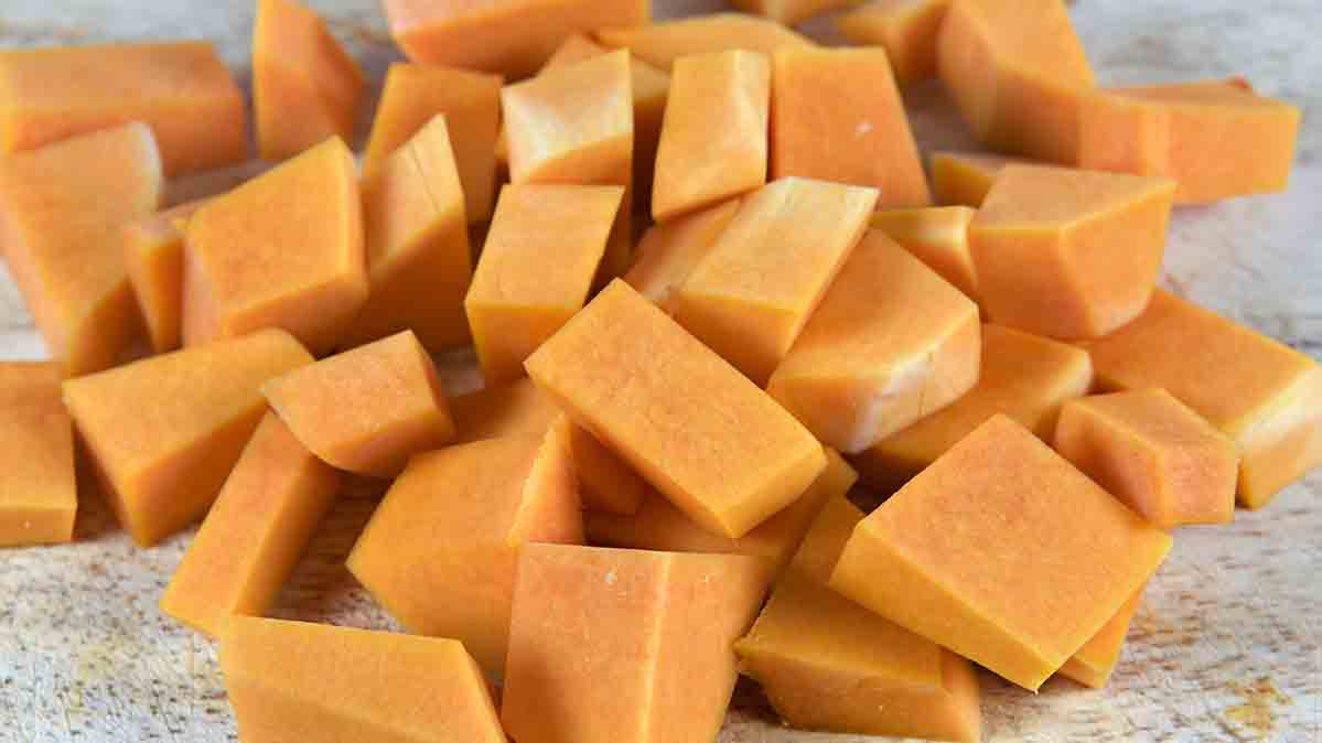 Cut-up pieces of raw butternut squash