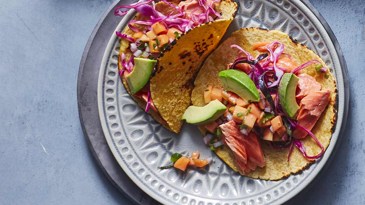 A plate of salmon tacos is an anti-inflammatory food.