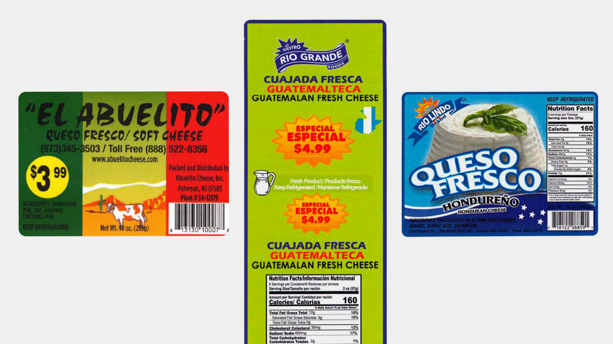 Labels of recalled queso fresco brands